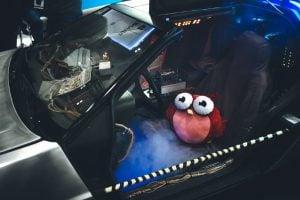 Owlie provsitter Back to the Future-bilen