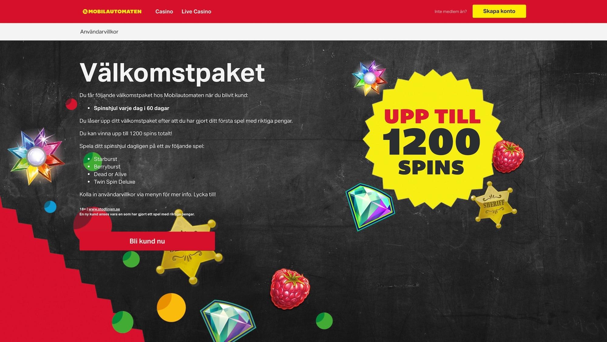 Få 800 kr i bonus och tävla om 1200 free spins