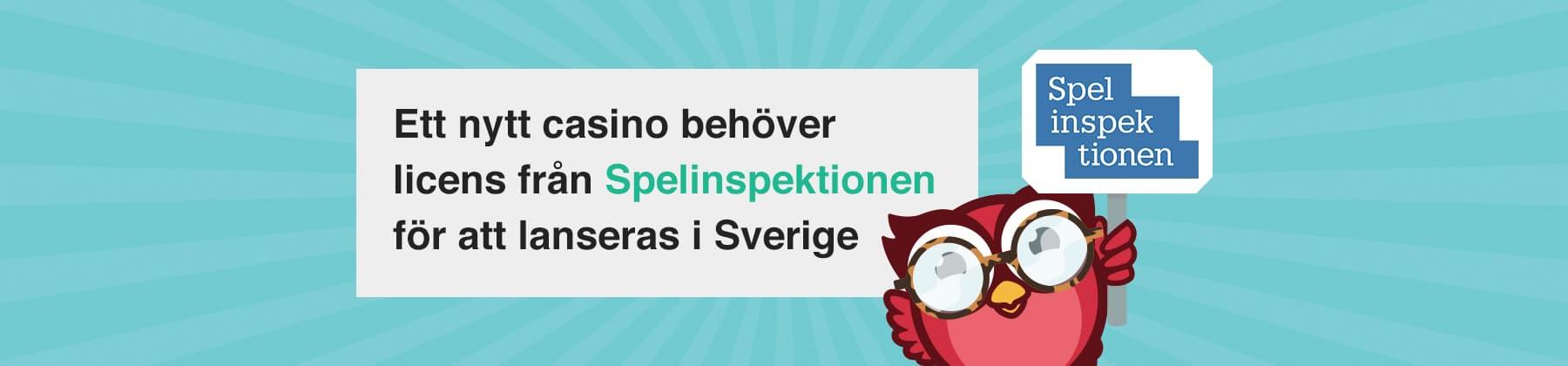 Ett nytt casino behöver licens från Spelinspektionen för att lansera i Sverige